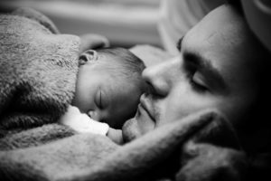 dad-baby sleeping bw